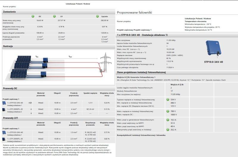 oferta instalacji fotowoltaicznej przykładowe uzyski SMA