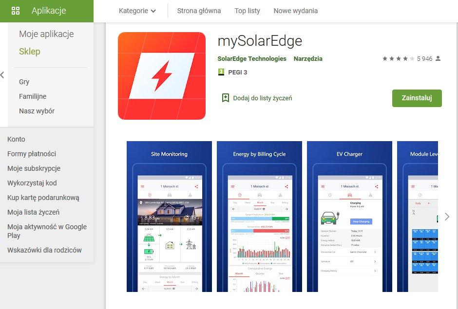 nowa aplikacja mysolaredge