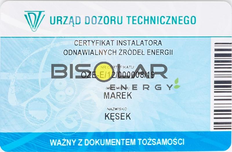 Bisolar Energy Krakow certyfikaty